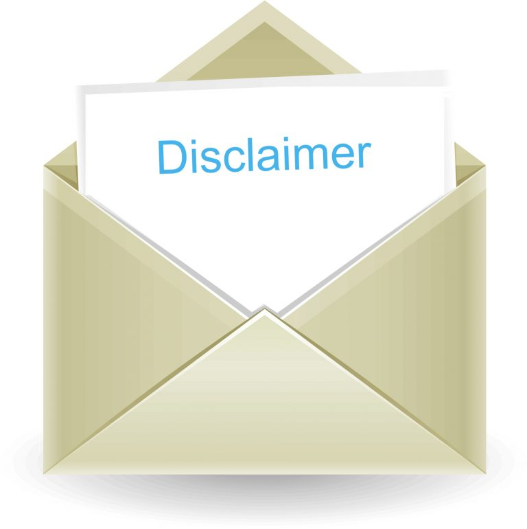 envelope with note card that reads Disclaimer