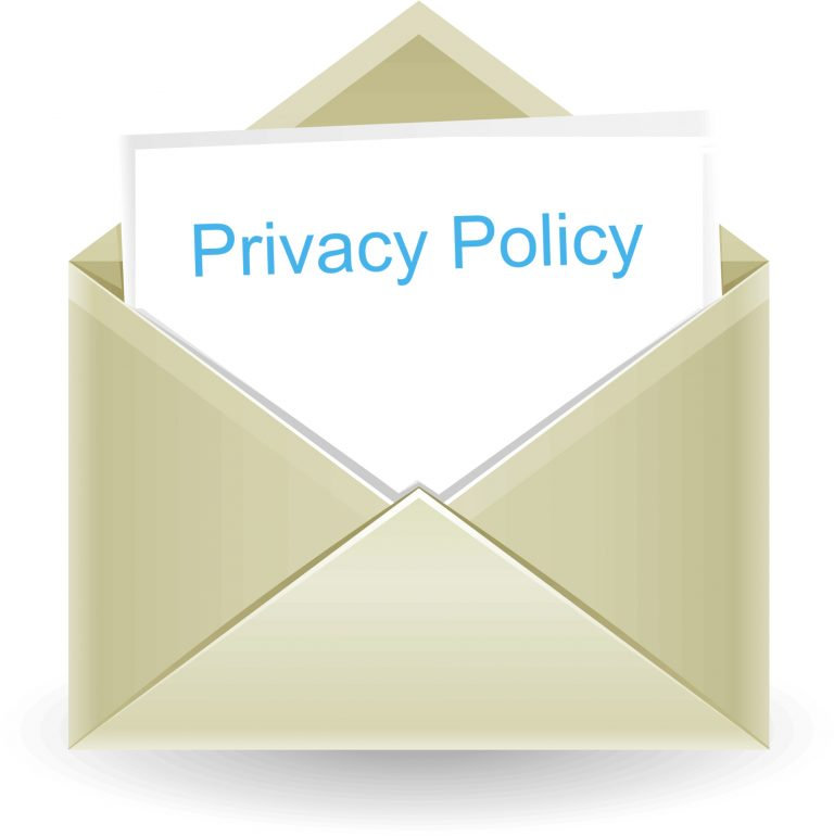 envelope with note card reading privacy policy