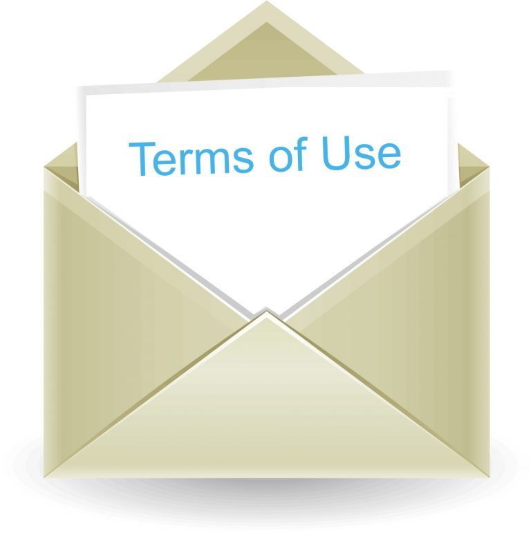"""envelope with note card reading """"Terms of Use"""""""